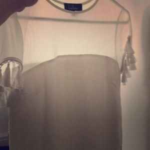Lulus white tassel dress